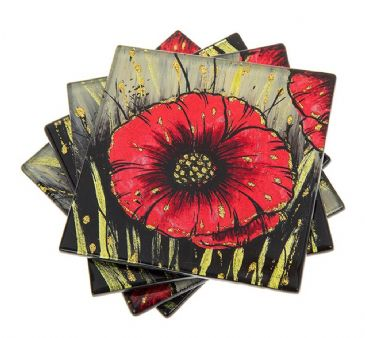Red Poppy Design Set of 4 Glass Coasters Shudehill Giftware